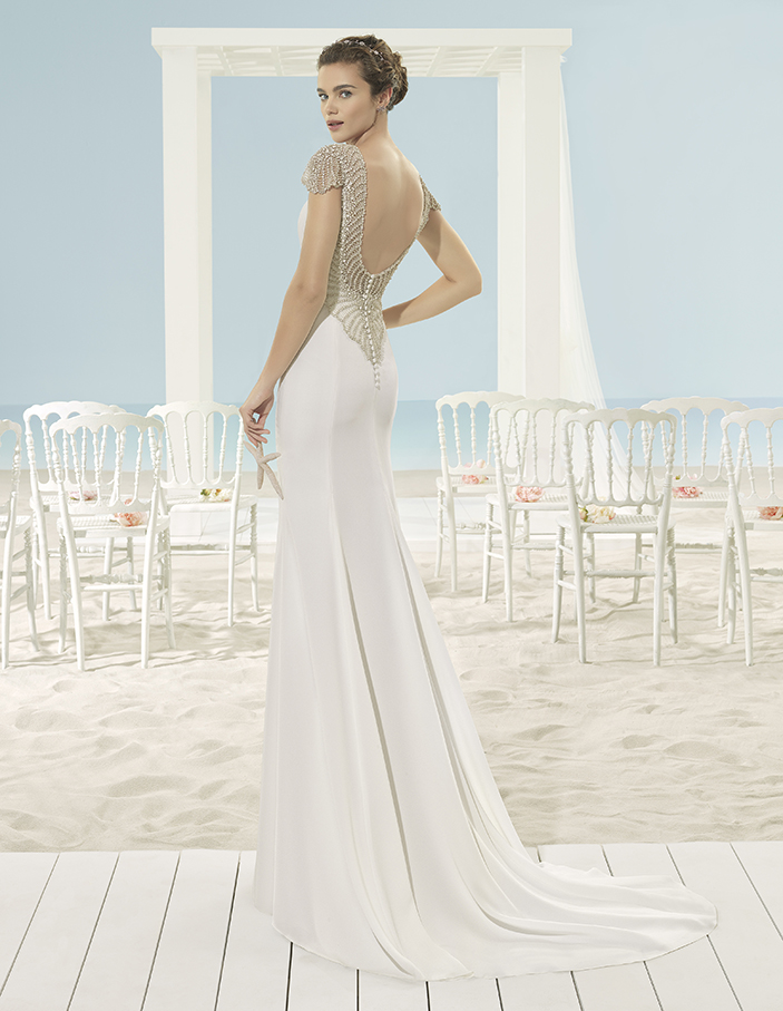 vestido novia crepe