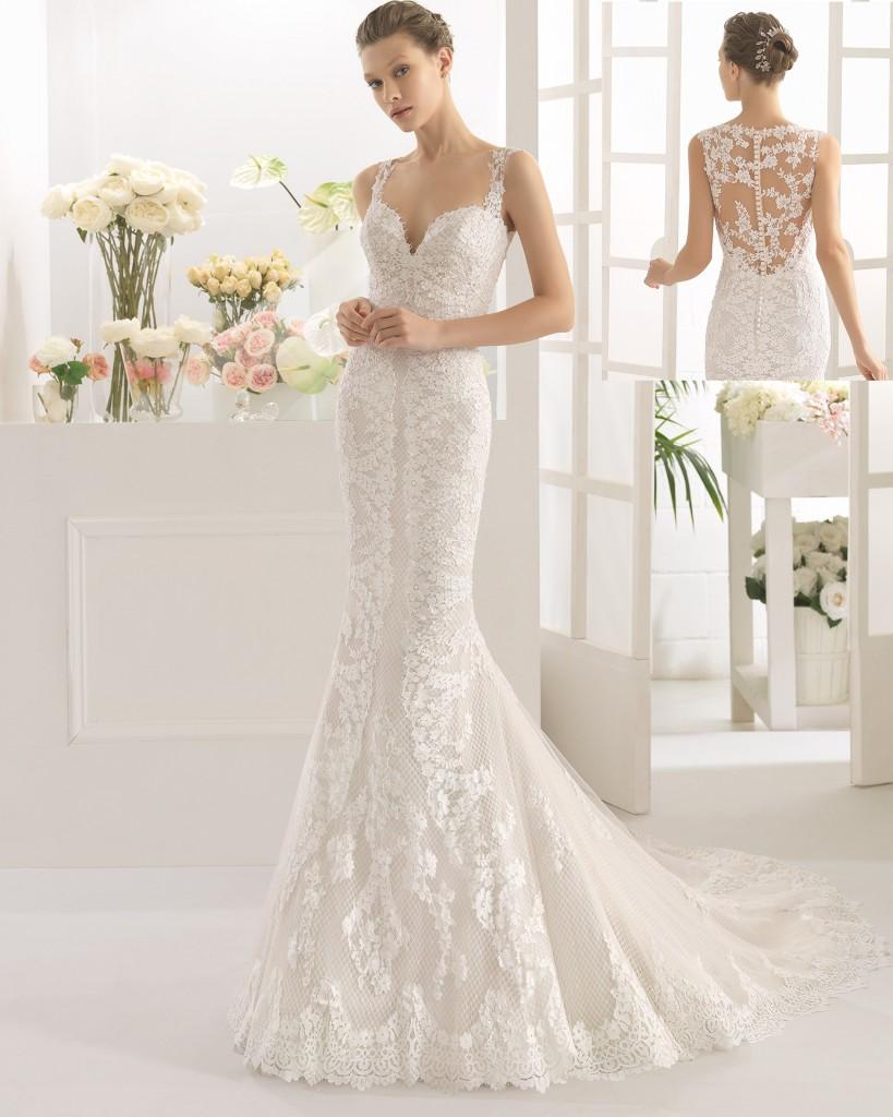 vestido de novia encaje y pedrería