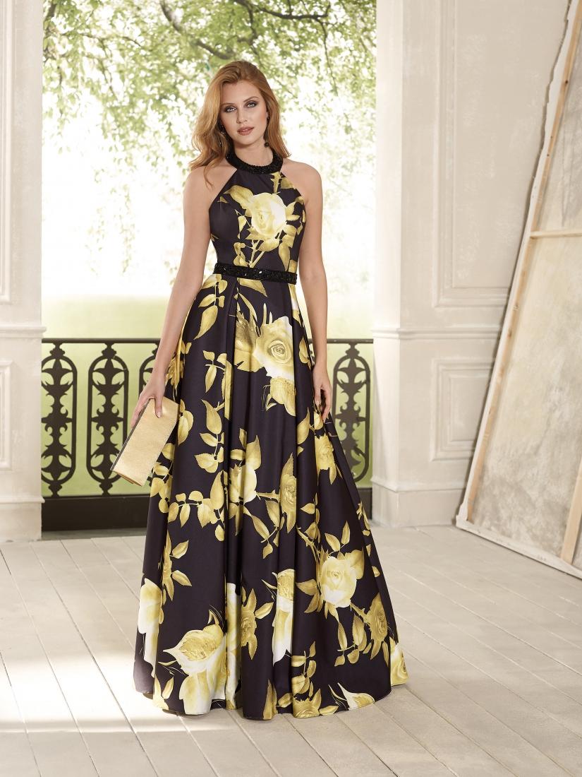 Vestido de fiesta largo estampado negro oro