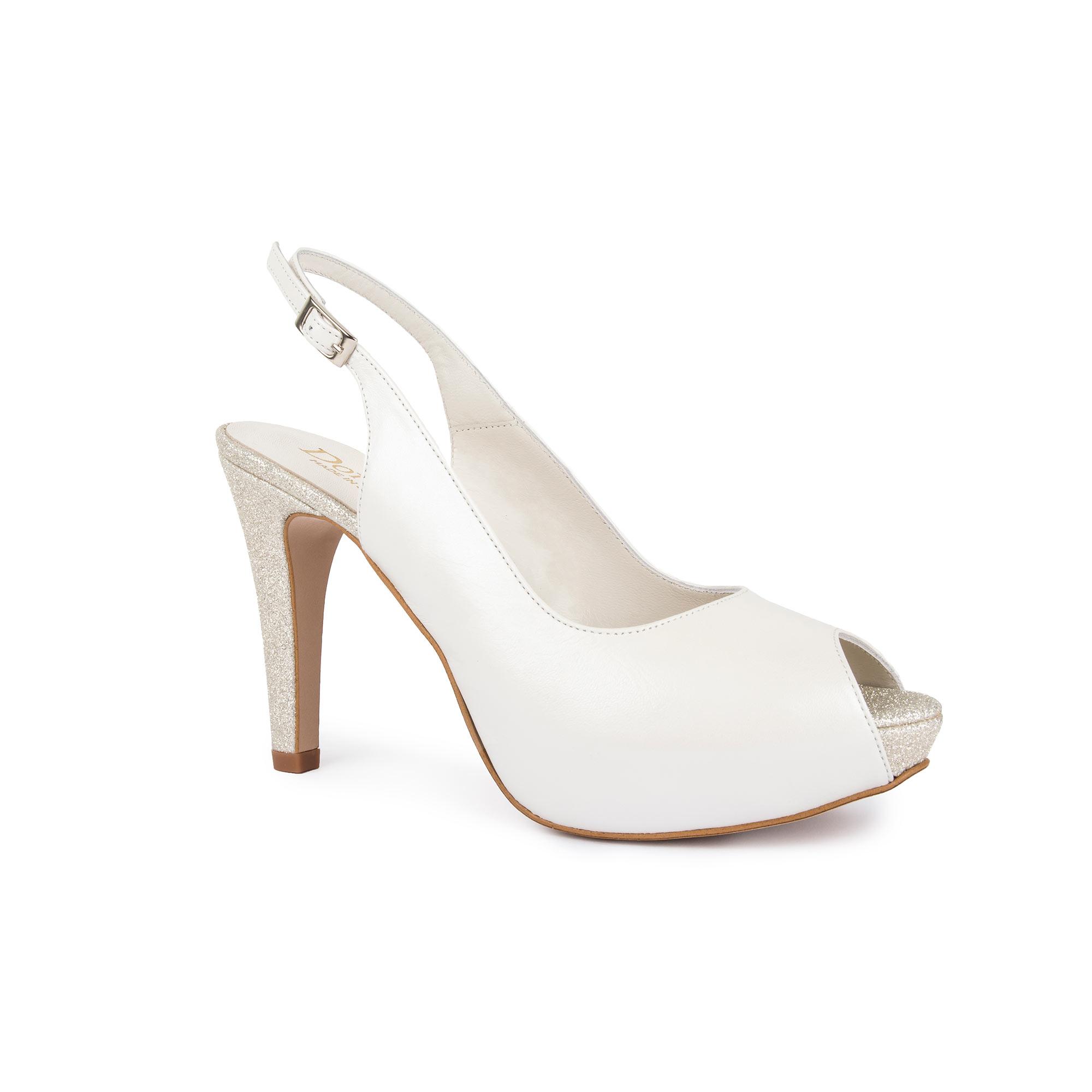 zapato de novia peep-toe glitter doriani