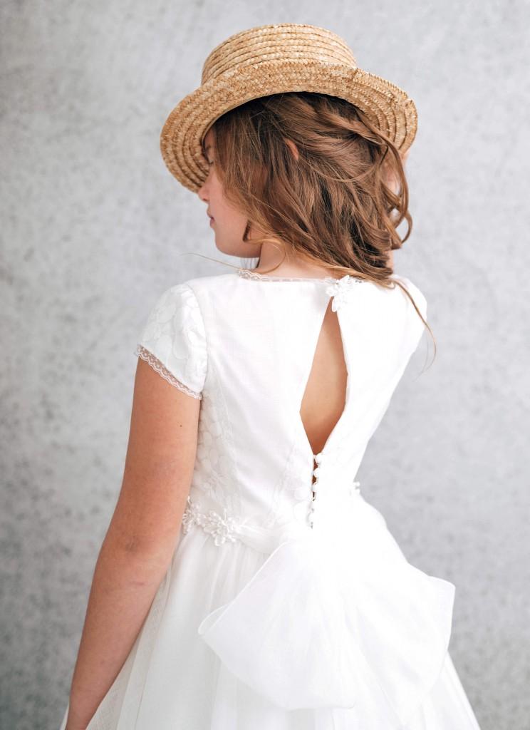 vestido de comunión abertura espalda