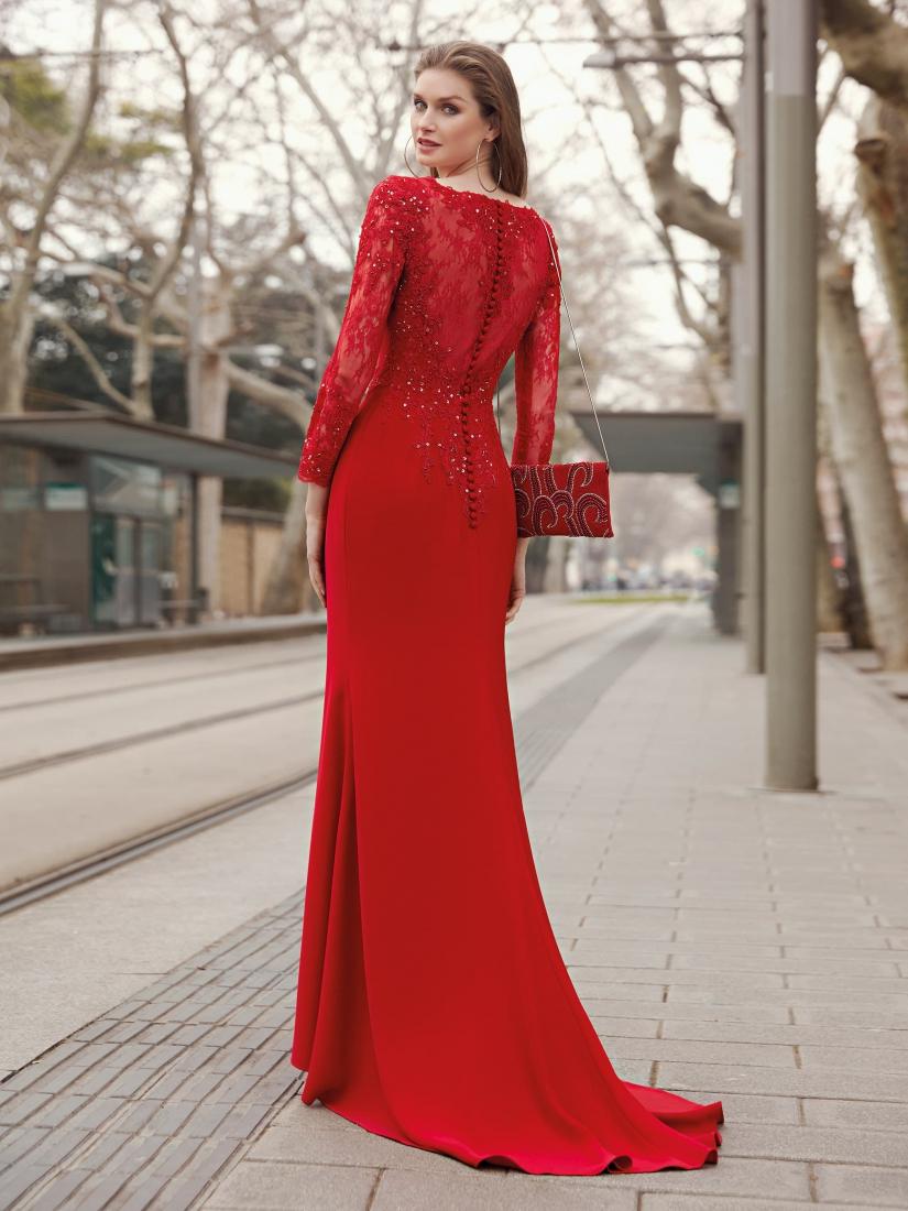 vestido largo de fiesta rojo espalda encaje