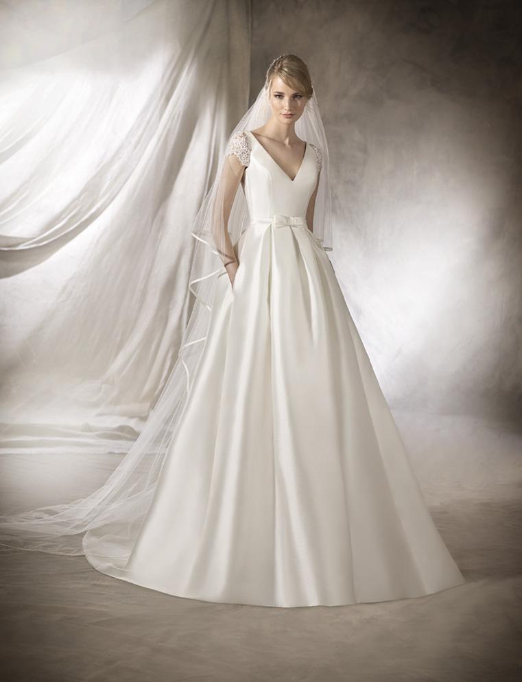 vestido de novia en mikado modelo halberg de la sposa 2017
