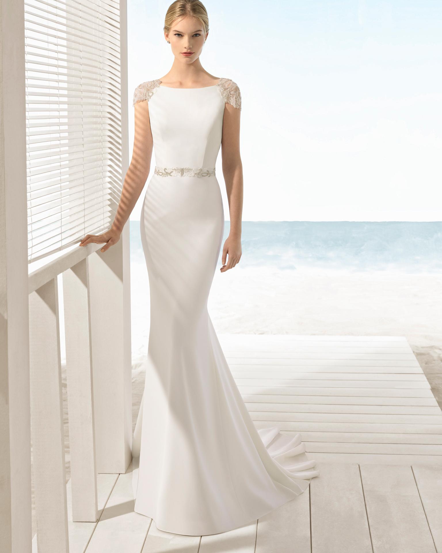 vestido de novia crep y pedrería