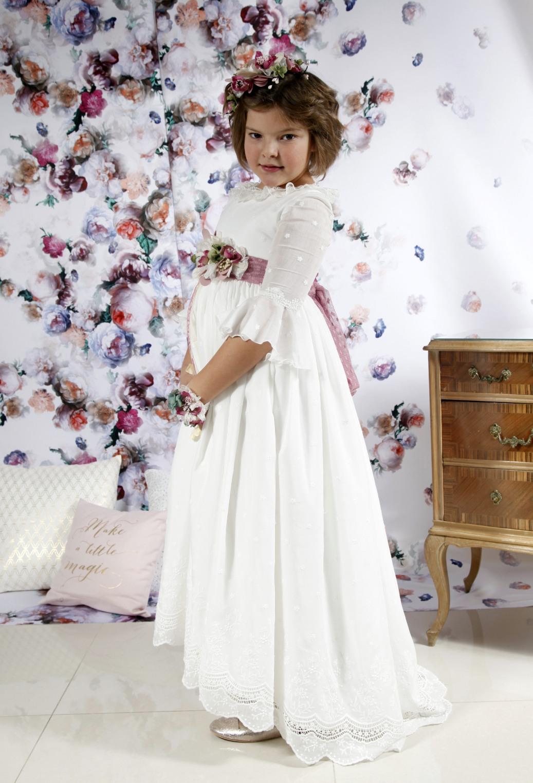 vestido de comunión falda asimétrica bordada de algodón estilo romántico
