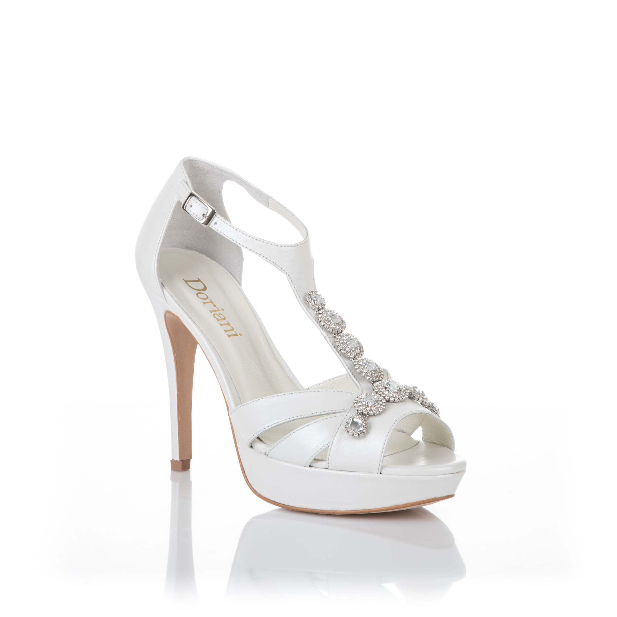 sandalia de novia peep-toe en piel perlada y pedrería