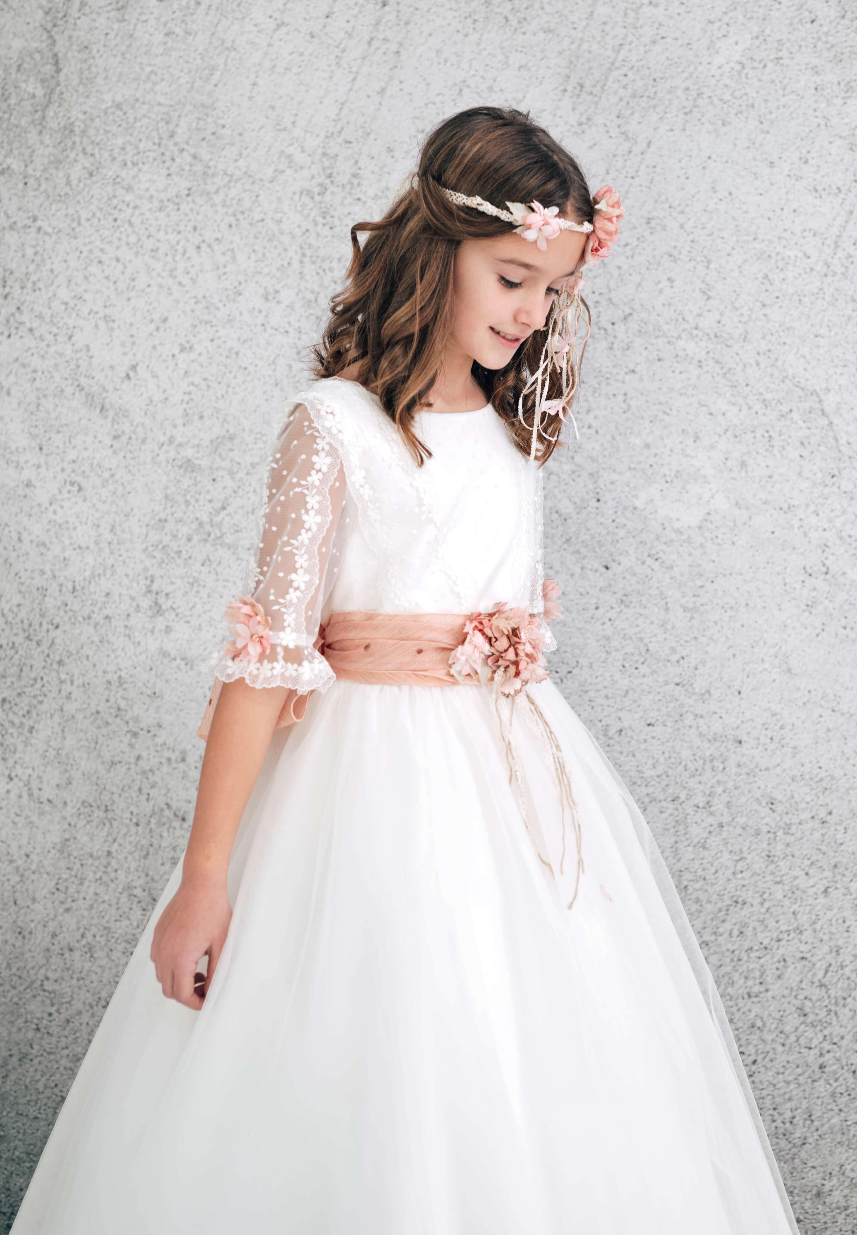 vestido comunión manga plumeti