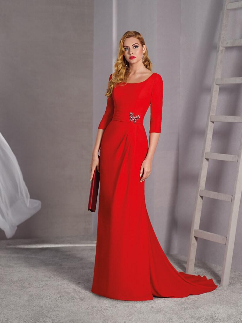 Vestido largo de crep color rojo