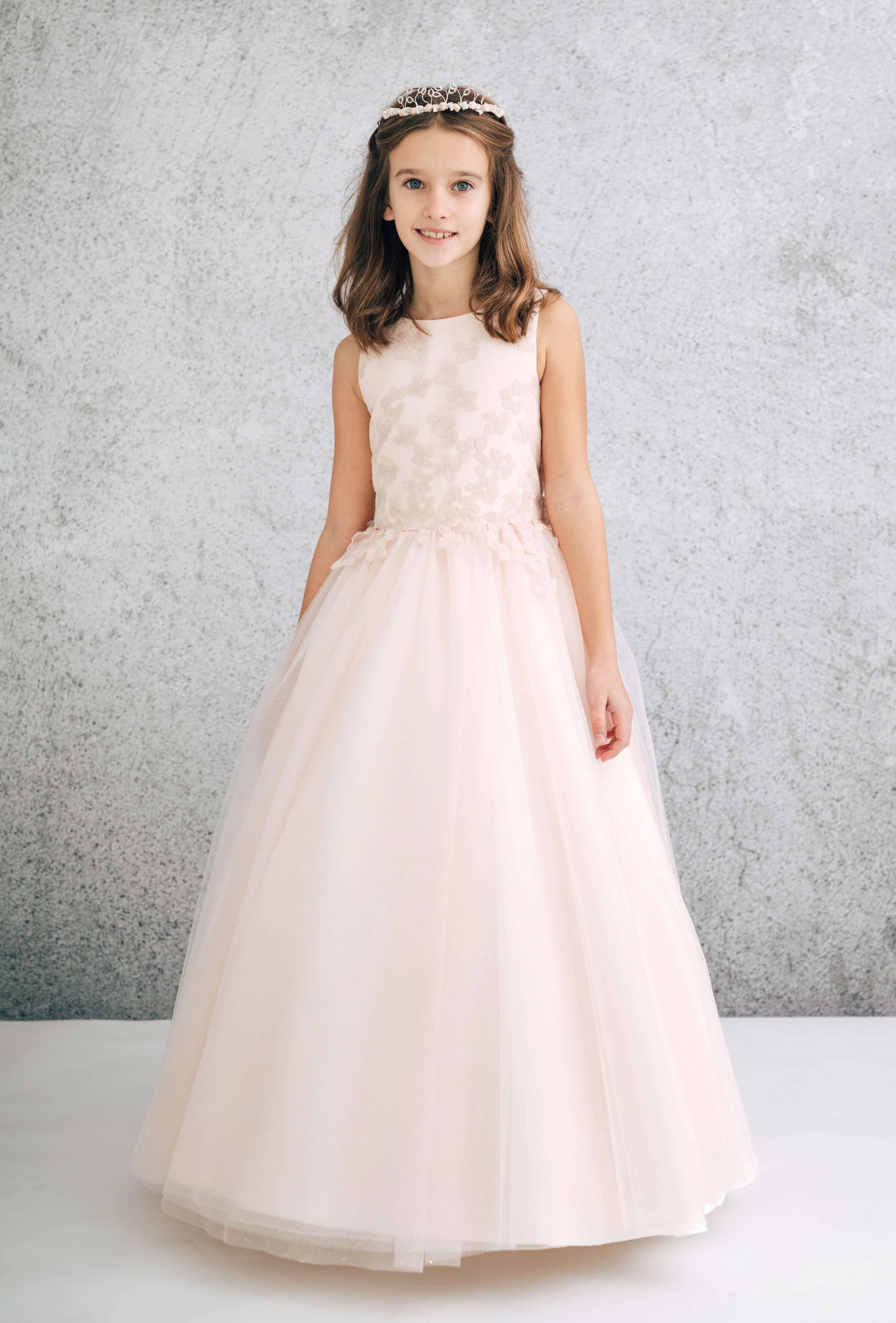 vestido de primera comunión modelo 1849 Valdés Pastor color rosa