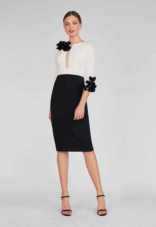 Vestido corto color blanco y negro