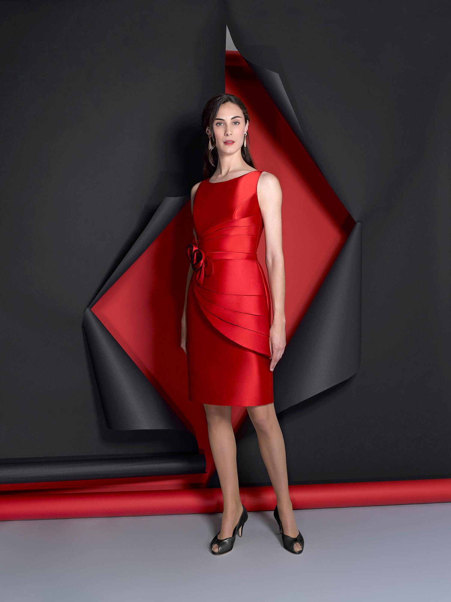 vestido mikado rojo valdes pastor